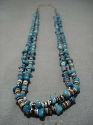 Rare!! Vintage Navajo Blue Spiderweb Turquoise Native American Necklace Old
