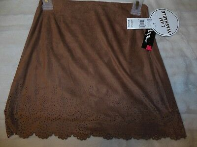 NWT Amy Wear Faux Suede Skirt Floral Cut-out Design Girl's Size 10 12 Medium