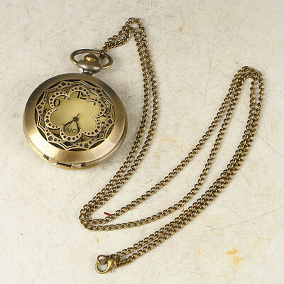 European Exquisite Classical Copper Carved Flower Shape Pocket Watch LB40+c