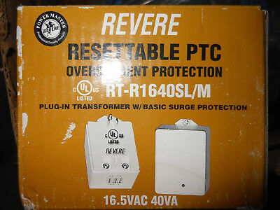 Revere Plug In Transformer 16.5VAC 40VA Part Number RT-R1640SL/M Resettable PTC