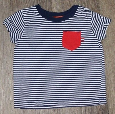 Little Me Baby Toddler Boys Shirt Navy White Striped ~ Size 12 Months NWOT