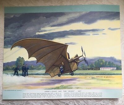 1952 Charles H. Hubbell print ADER'S GIANT BAT Historic Airplane