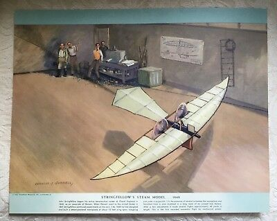 1952 Charles H. Hubbell print STRINGFELLOW'S STEAM MODEL Historic Airplane