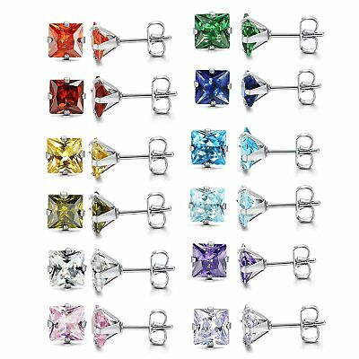 Womens Stainless Steel Square CZ Ear Piercing Birthstone Stud Earrings 12 Pairs