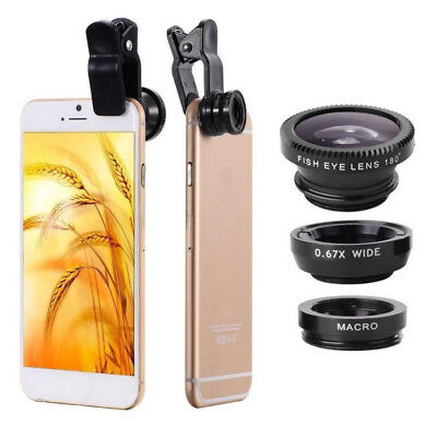 3 In 1 Mobile Phone Fish Eye + Wide Angle + Macro Camera kit Lens Universal