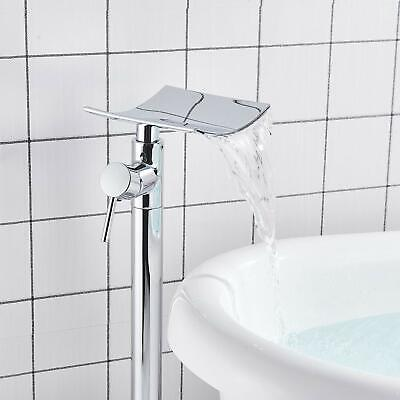 Freestanding Chrome Bathtub Faucet 2 Handles Tub Filler Wall Mount Hand Shower