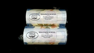 PAIR OF VINTAGE LAURA ASHLEY FLORAL WALLPAPER BORDER 10m