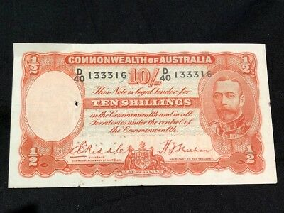 AU - TEN SHILLINGS NOTE - Signed by RIDDLE & SHEEHAN - LOW RESERVE!!!!