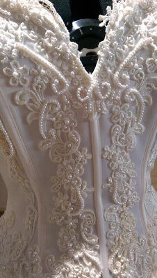 Wedding Dress Romantic Champagne Satin, Pearl detailing WOW FACTOR Size 8 to 10