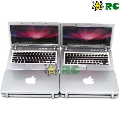 4pcs 1:12 Silver Mini apple Laptop Dollhouse Miniature Scene Model Accessories