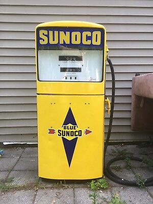 Antique Gas Pump Sunoco Light Up Gilbert Pump