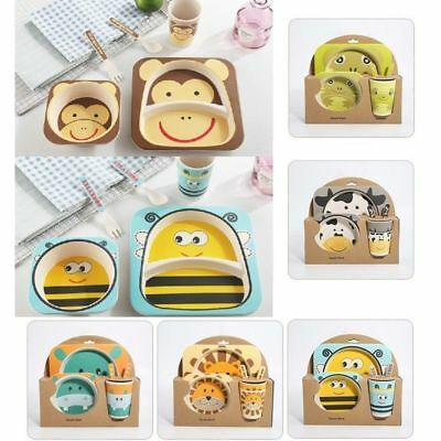 5PCS Baby Bamboo Feeding Bowl set with cute animal faces BPA free PVC free