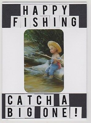 Blank Handmade Greeting Card With Envelope ~ Happy Fishing ~ Male