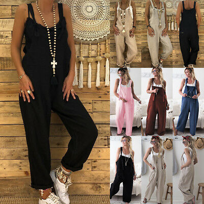 New Women's Casual Dungarees Overalls Jumpsuit Ladies Romper Pants Long Playsuit