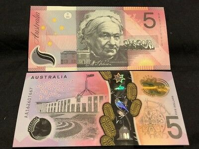 AU - 2x POLYMER $5 Notes - 1 is vUNC and 1 is AA Prefix - LOW RESERVE!!!!