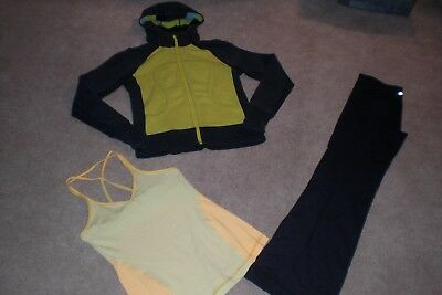 Lot of Lululemon Luon Wunder Under Pants, Rare Hoodie and Tank sz 8