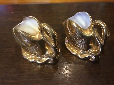 2 Wembley Ware Gold Swans,6 cms,Labelled to Bases GC No damage