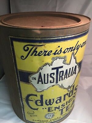 Vintage Edwards Ensign Tea tin, Ceylon blend, Melbourne, rare GENUINE