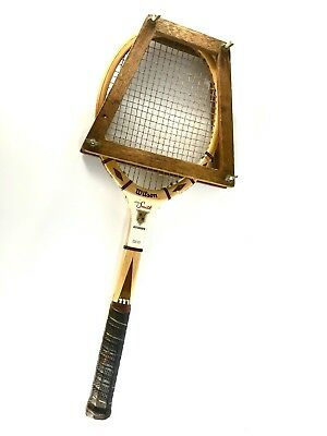 huge selection of c4c6c c0046 VINTAGE WILSON STAN SMITH AUTOGRAPH Wood Tennis Racquet with Frame. Med 4  5/8