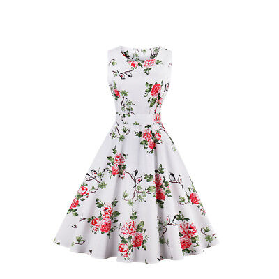 Hot Sale Womens 1950s 60s Vintage Floral Rockabilly Cocktail Party Swing Dress