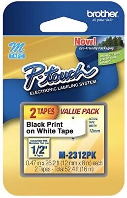 Brother M2312PK 2-Pack Black on White P-Touch Adhesive Label Tape