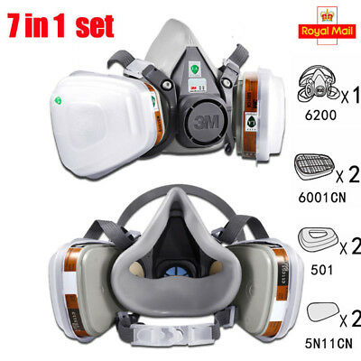 7 in1 3M 6200 Suit Spray Paint Dust Mask Vapour Particulate Reusable Respirators