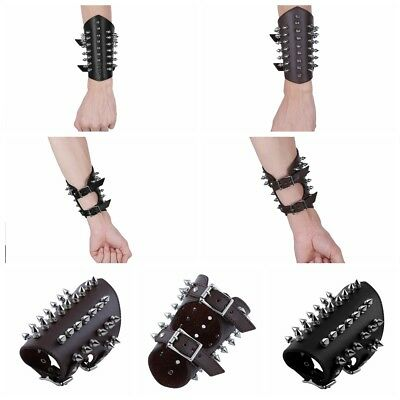 Unisex Faux Leather Punk Gauntlet Wristband Metal Spike Studded Arm Armor Cuff