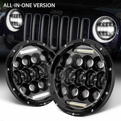 Pair 7 inch LED Headlights 200W CREE Round Kit For Jeep Wrangler TJ JK 97-17