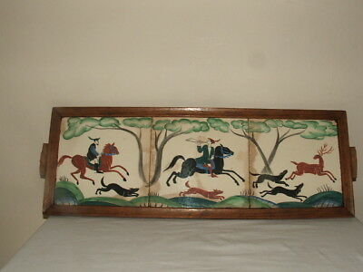 Susie Cooper Rare Early Medieval Handpainted Hunting Scene 3 Tile Plaque Wow