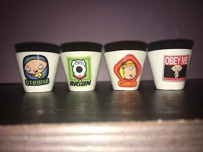 Family Guy 4 Shot Glasses Stewie x2, Brian, And Chris.