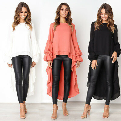 New Fashion Womens Puff Sleeve Casual Party Ruffles Tops Blouse Shirts Size 6-16