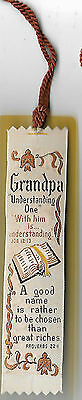 """Vintage Woven Bookmark With Tassell - """"grandpa"""" Good Condition"""