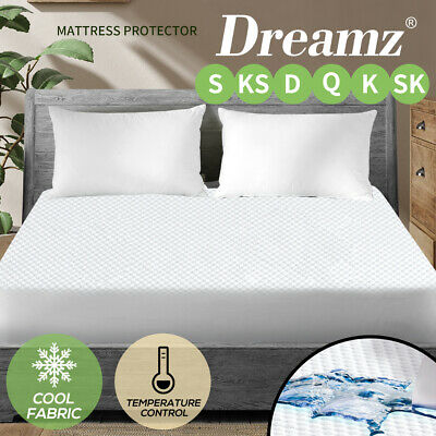 Dreamz Cool Cooling Waterproof Mattress Protector Fully Fitted Sheet Cover 5Size