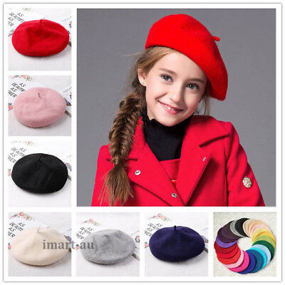 Kids Girls Ladies Acrylic Wool French Beret Newsboy Hat Cap Winter Warm Hats