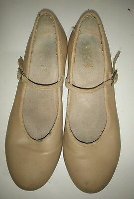 BLOCH Tap Dancing Shoes Tan Tap Dance Ladies / Snr Girls Size 7.5