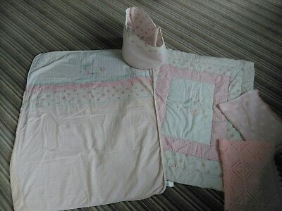Stunning Baby Girls Mothercare Bed Linen Set,Cot Quit,Cot Bed Cover,Toy Bag,pink