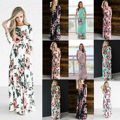 Fashion Sexy Women Maxi Dresses Summer Bohemia Floral Long Women Beach Dress