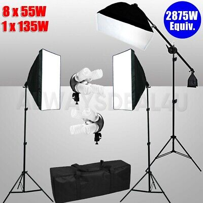 Photo Studio Softbox 5 Head Bulbs Continuous Lighting Soft Box Light Stand Kit