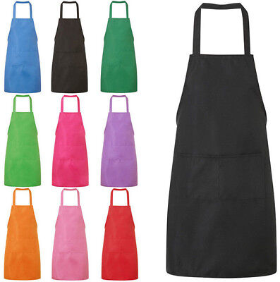 Plain Halter Neck Apron Waiter Baker Chefs Full Bib Apron Kitchen Pocket HOT