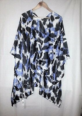 One Size Fits All Suzanne Grae Wrap Blue/grey/off White Viscose Fabric