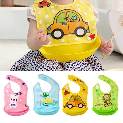 Waterproof Baby Kids Bib Silicone+Plastic Bib Apron Baby Feeding Food Catcher