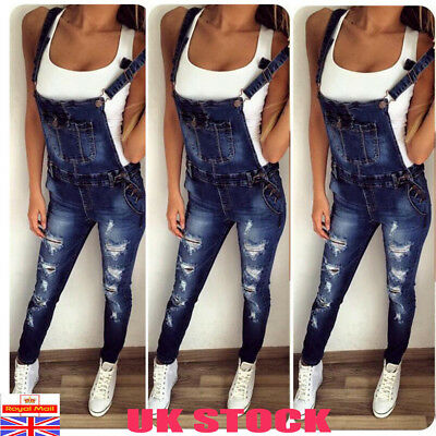 Womens Denim Dungarees Ladies Slim Fit Ripped Jeans Jumpsuit Rompers Plus Size
