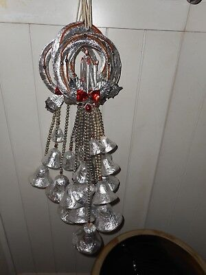 Vintage Foil Wreath Christmas Bells With Mercury Glass Beads - Lot Of 6