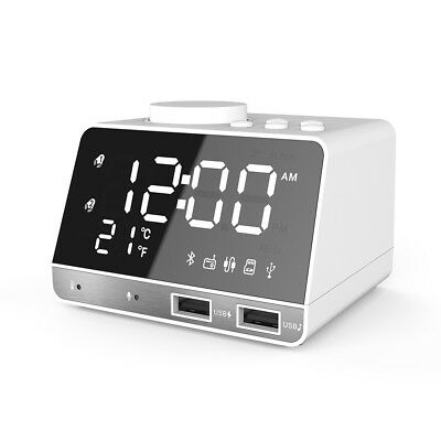 Portable LED Bluetooth Speaker w/ FM Radio Alarm Clock USB TF AUX MP3 Player
