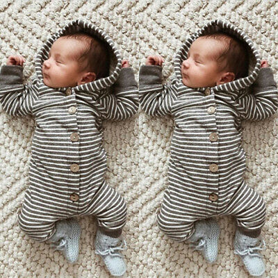 AU Infant Baby Girl Boy Striped Hooded Romper Jumpsuit Bodysuit Outfits Clothes