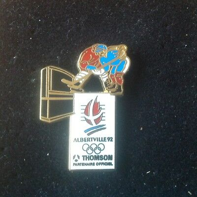 Rare Pin's Hockey Sur Glace Jeux Olympiques 92 Alberville Thomson Zamac