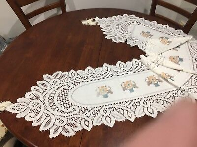 BRAND NEW -Vintage  Collectable Table Runner - lace style and florals