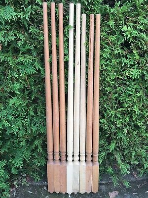 LOT Of 8 Antique Carved Turned Wood NEWEL POST Spindles Architectural Salvage