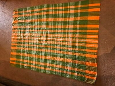 Vintage Orange & Green Seersucker Tablecloth for the Kitchen or Camping