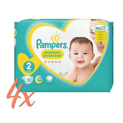 Pampers Premium Protection New Baby, Gr. 2 , 4-8kg , 4 x 31 Stück = 124 Windeln